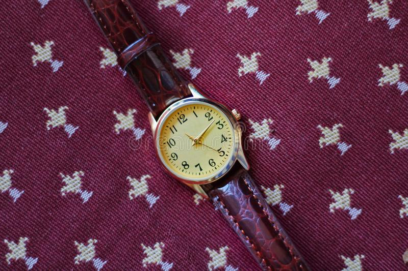 Isolated gold and quartz watch with leather strap. royalty free stock photos