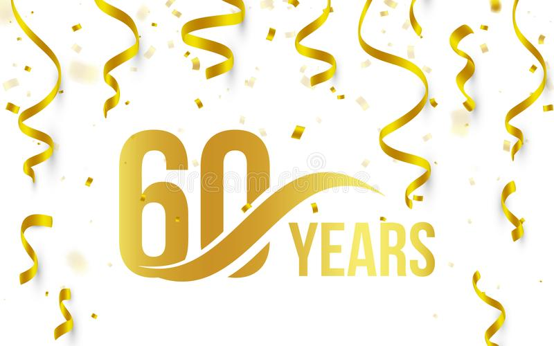 Isolated golden color number 60 with word years icon on white background with falling gold confetti and ribbons, 60th stock illustration
