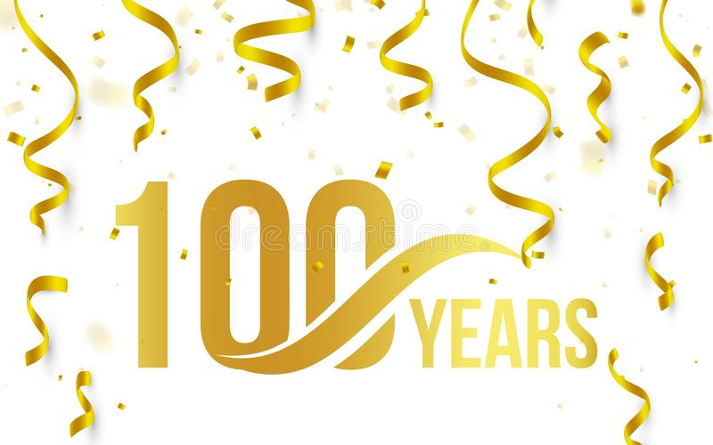 Isolated golden color number 100 with word years icon on white background with falling gold confetti and ribbons, 100th stock illustration