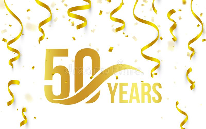 Isolated golden color number 50 with word years icon on white background with falling gold confetti and ribbons, 50th. Birthday anniversary greeting logo, card vector illustration