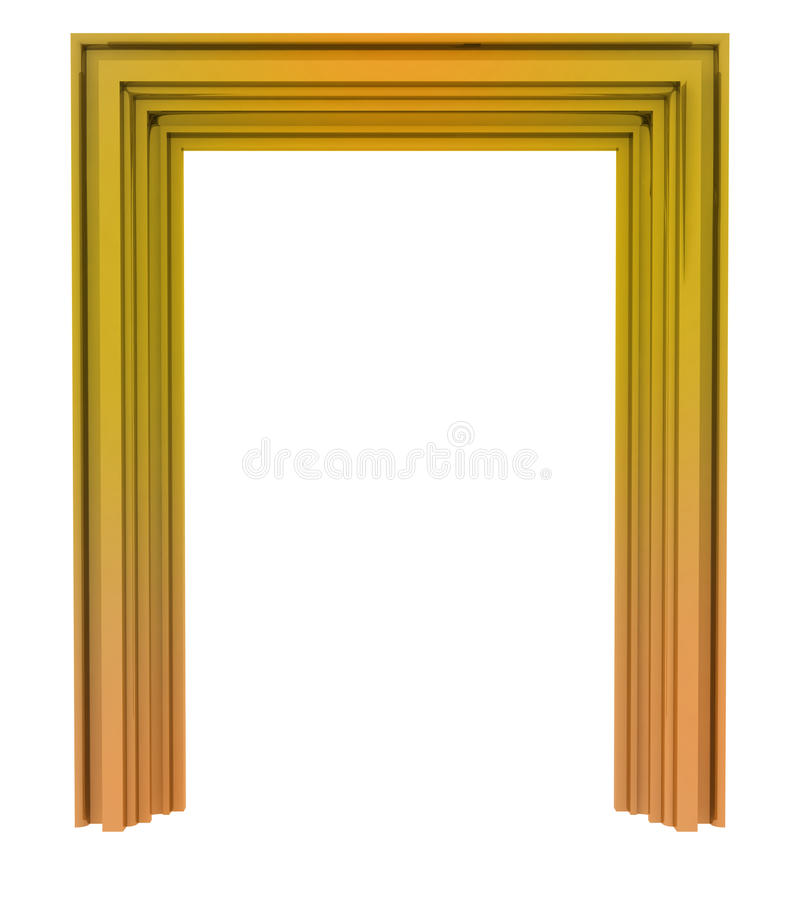 Isolated golden decorative door frame vector illustration