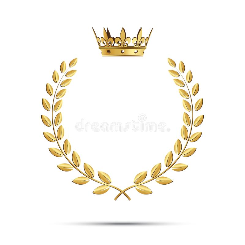 Isolated golden laurel wreath with crown. Vector illustration. stock illustration