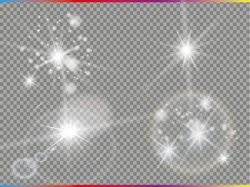 Isolated golden lens flare. Glow transparent vector light effect set, explosion, glitter, spark, sun flash, and star. Burst. Abstract translucent special vector illustration