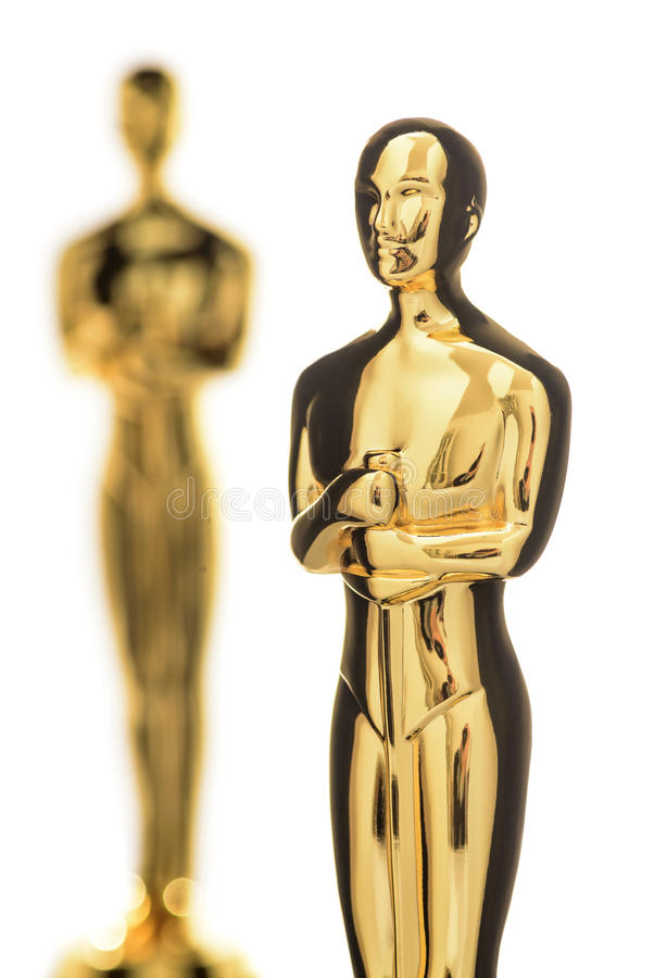 Isolated Golden Statuette Closeup stock photography