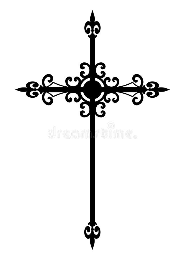 Isolated gothic black cross. A religious ornate metal cross in black isolated on a white background vector illustration