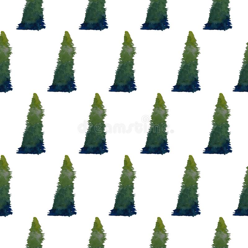 Isolated greenish Christmas tree watercolor painting in seamless pattern on white background royalty free stock image