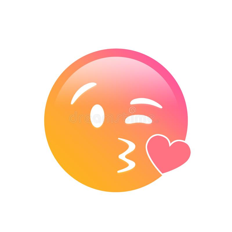Isolated gradient smiley face with kissing mouth icon. The isolated gradient smiley face with kissing mouth icon stock illustration