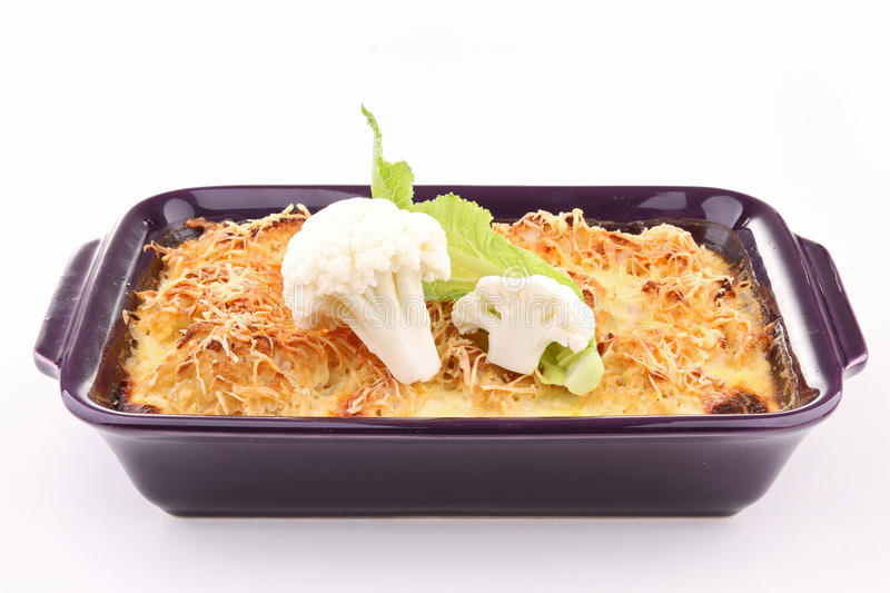 Isolated gratin stock photography