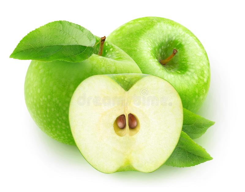 Isolated green apples royalty free stock images