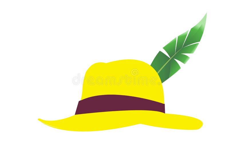 Isolated green leaf traditional hat on white background. Illustration design stock image