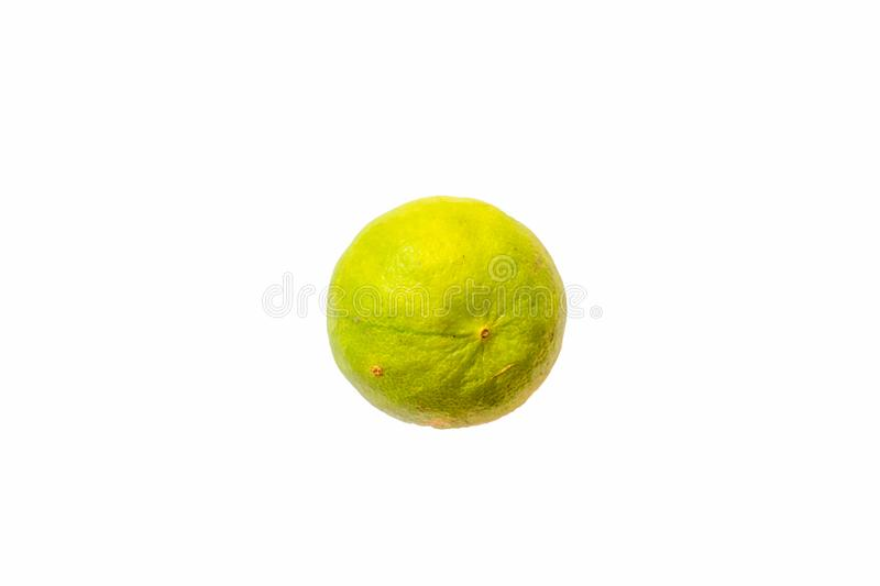 Isolated Green lemon or lime with white die cut. Background with green and yellow texture skin stock image
