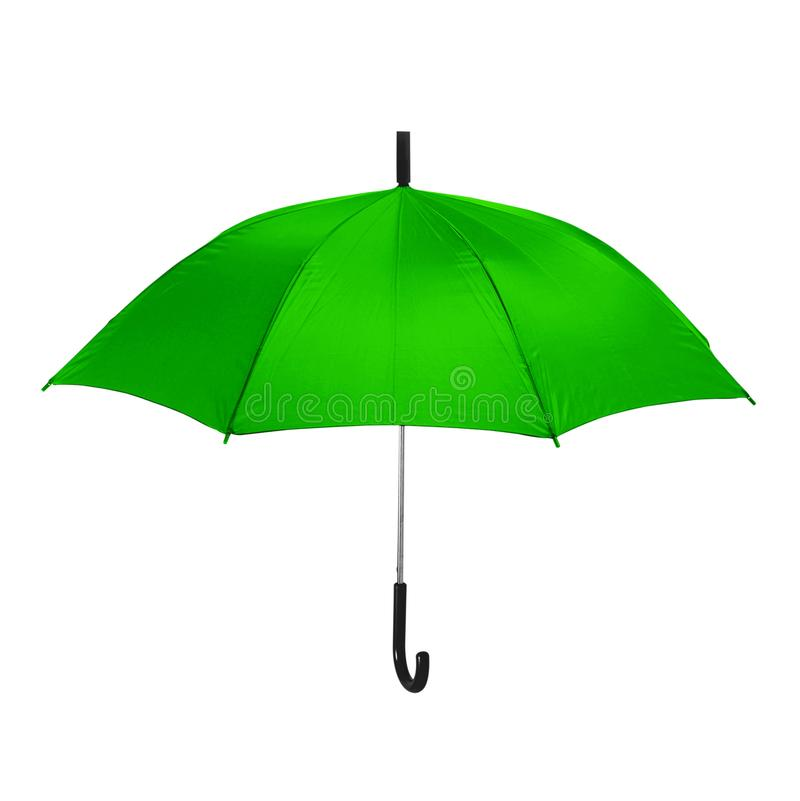 Isolated green umbrella in white background stock photos