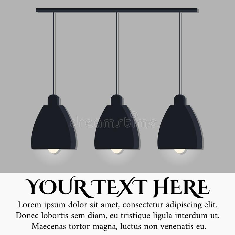 Isolated on grey wall background black modern scandinavian style lamp with three glowing light bulbs stock illustration