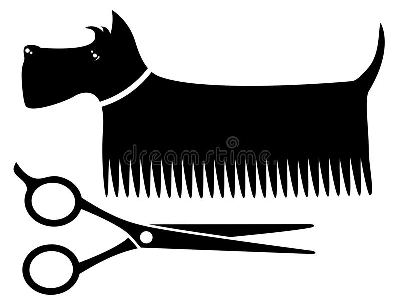 Isolated grooming dog. Isolated black grooming dog silhouette with scissors
