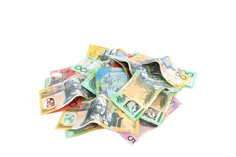 Isolated group of colorful australian money banknote dollar AUD pile on white background royalty free stock image