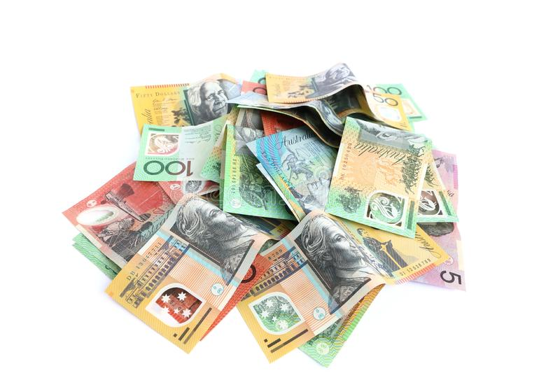Group of colorful australian money banknote dollar AUD pile on white background royalty free stock image