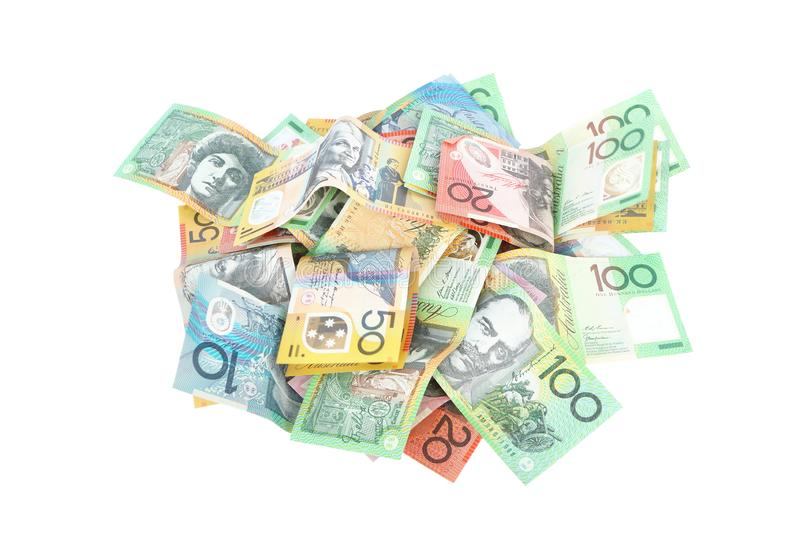 Group of colorful australian money banknote dollar AUD pile on white background royalty free stock images