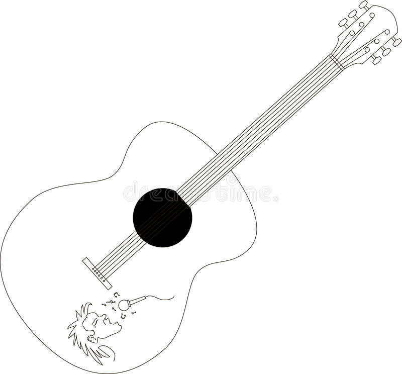 Isolated guitar vector. Guitar isolated on white, editable stock illustration