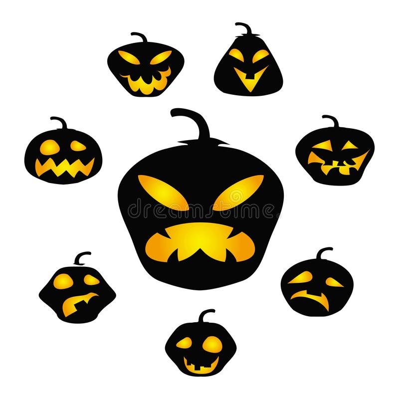Halloween dark pumpkin face vector background stock illustration