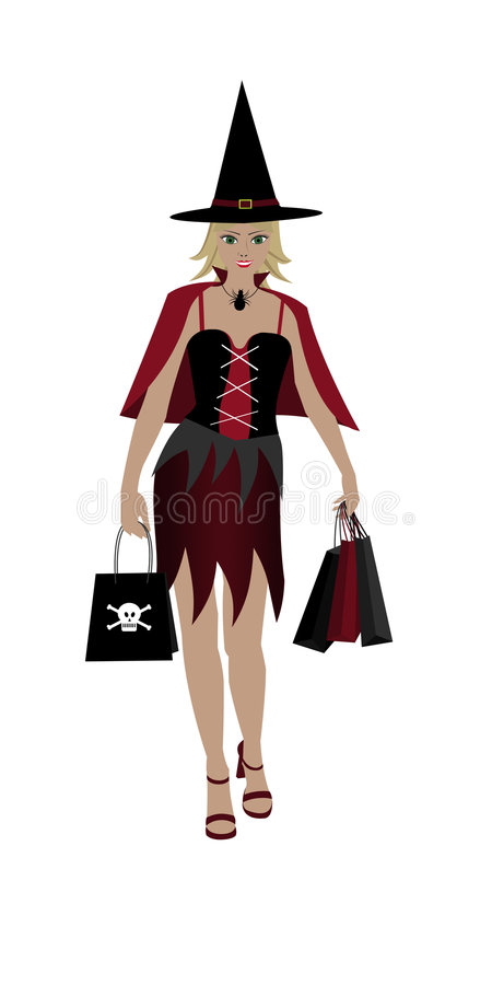 Isolated Halloween shopping girl stock images