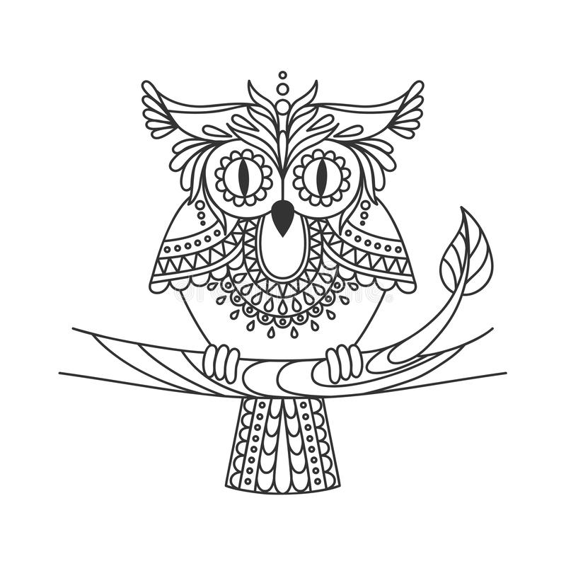 Isolated hand drawn black outline monochrome abstract ornate owl on white background. Ornament of curve lines. Page of coloring bo. Ok. Front view of owl royalty free illustration