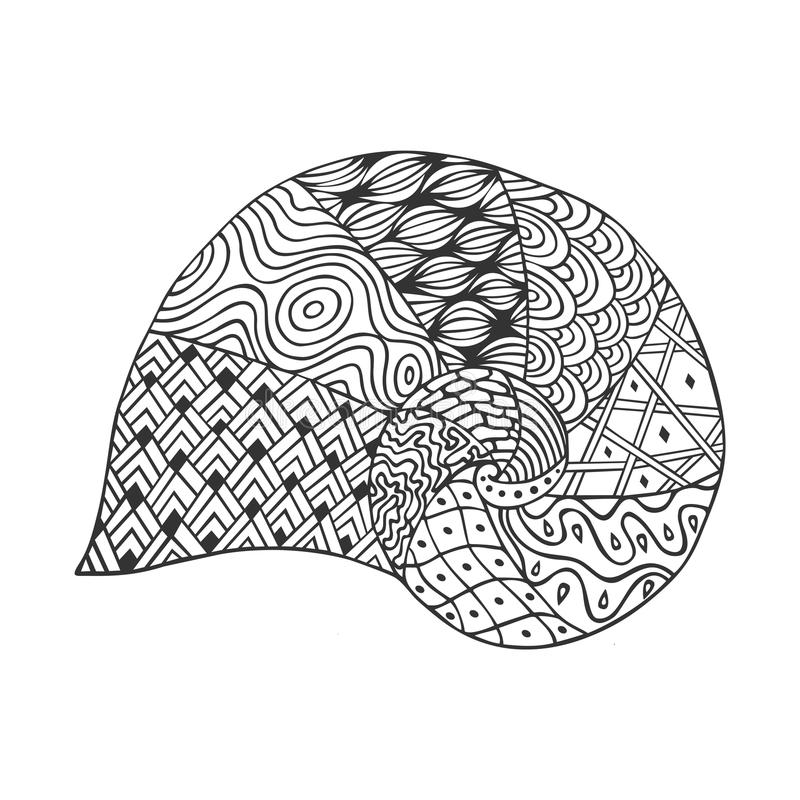 Free Isolated Hand Drawn Black Outline Monochrome Sea Shell On White Background. Ornament Of Curve Lines. Royalty Free Stock Images - 90148939