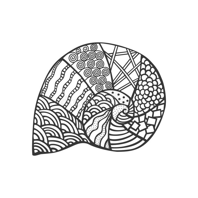 Free Isolated Hand Drawn Black Outline Monochrome Sea Shell On White Background. Ornament Of Curve Lines. Stock Photography - 90227092
