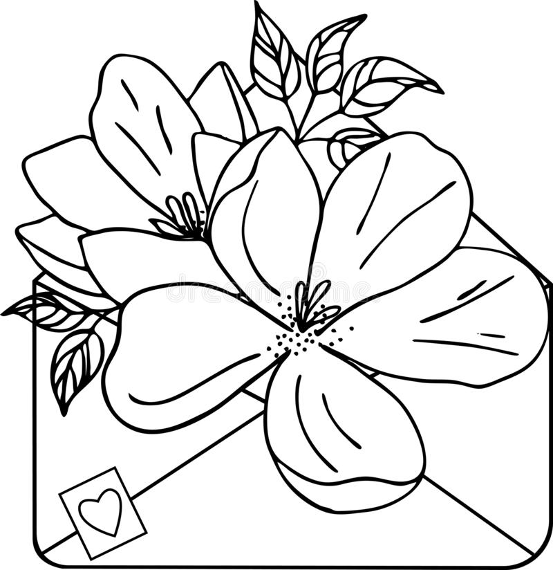 Isolated hand-drawn kraft envelope with flowers, silhouette royalty free illustration