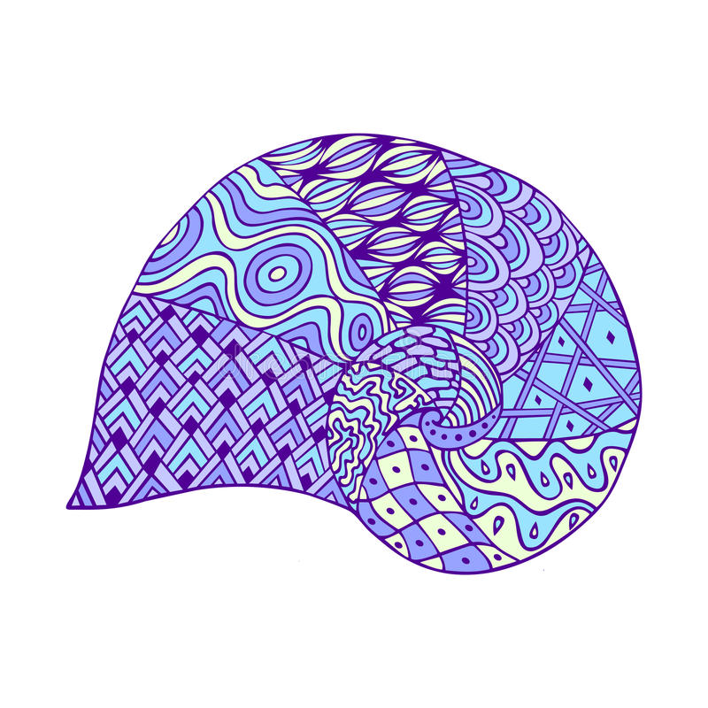 Free Isolated Hand Drawn Outline Blue Violet Colored Sea Shell On White Background. Ornament Of Curve Lines. Stock Photo - 90148940