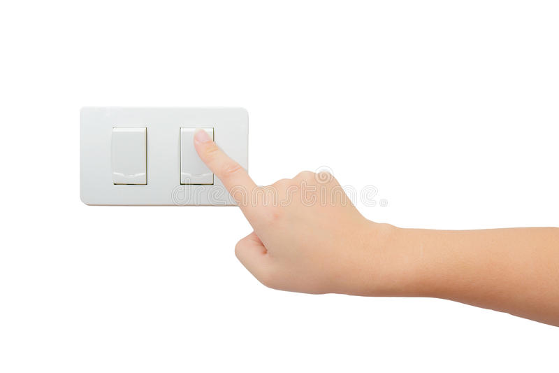 Download Isolated Hand Press Turn On/off Electrical Switch Stock Image - Image of finger, open: 64800007