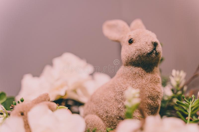 Isolated Handmade Easter Decorations (Bunny with Blossom Flowers) - Concept of the Harmony and Peace in Family stock photo