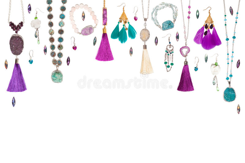Isolated handmade jewelry on the white background stock photos