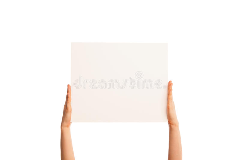 Isolated hands holding paper fingers straight stock photography