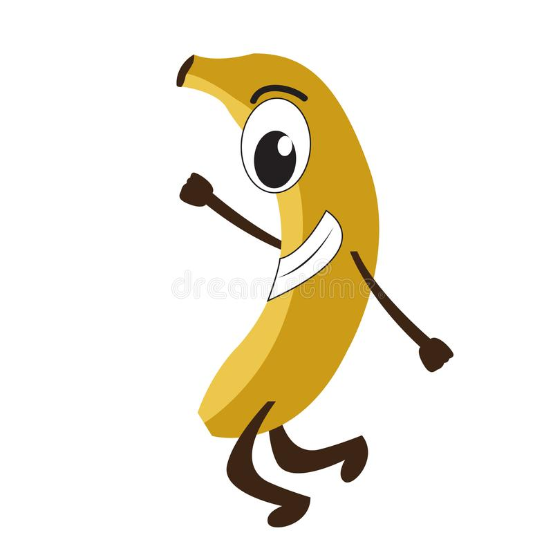 Isolated happy banana emote vector illustration