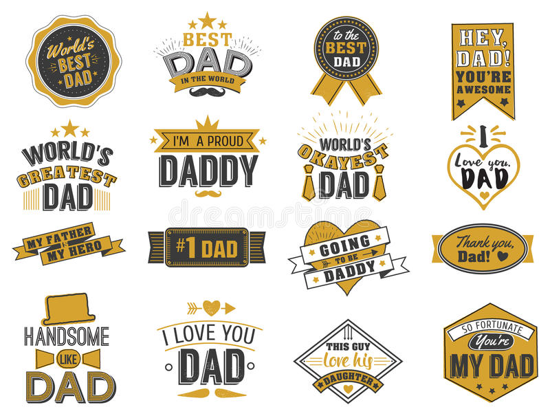 Isolated Happy fathers day quotes on the white background. Dad congratulation gold and black label, badge vector. Collection. Mustache, hat, stars elements for stock illustration