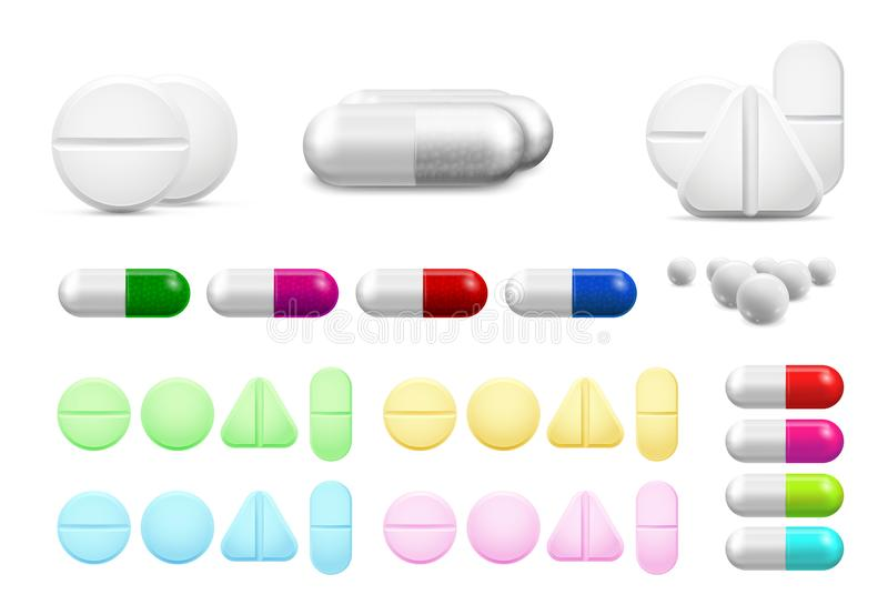 Isolated healthcare white pills, antibiotics or painkiller drugs. Vitamin pill, antibiotic capsule and pharmaceutical. Isolated healthcare white pills royalty free illustration
