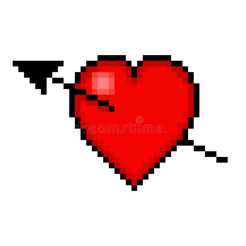 Heart And Arrow Pixel Art Stock Illustration Illustration