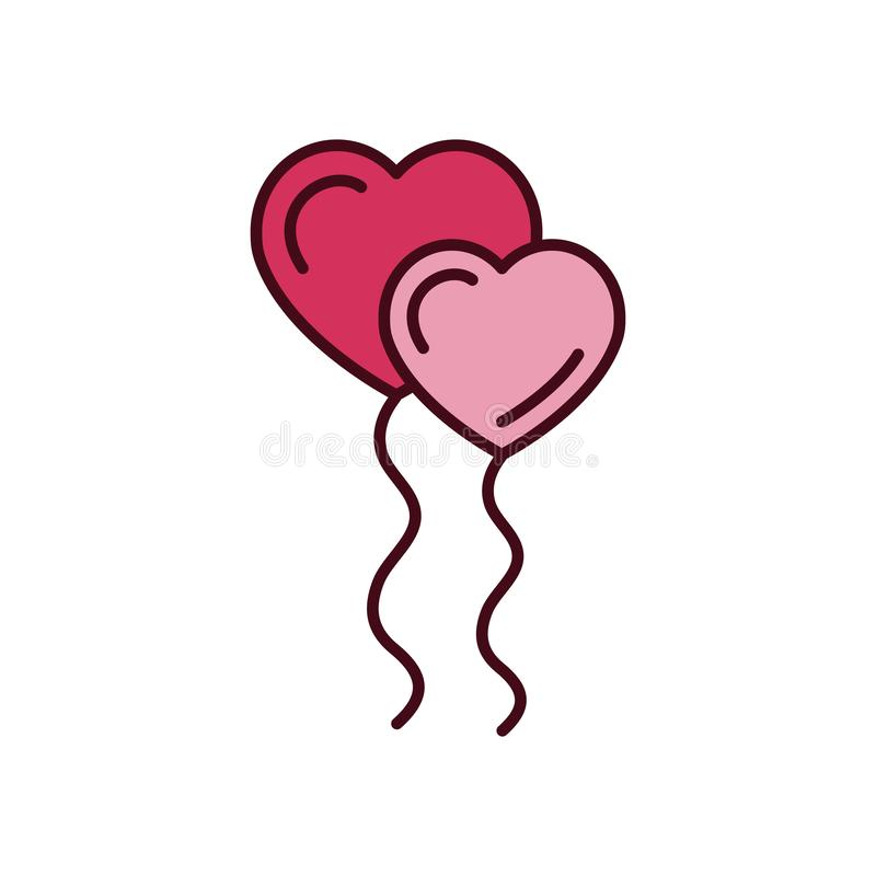 Isolated heart balloons icon fill vector design royalty free stock photography