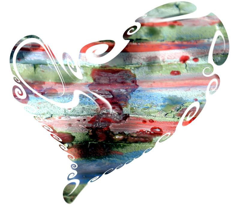 Isolated heart in waxy pastel watercolor hues and mud stock photography