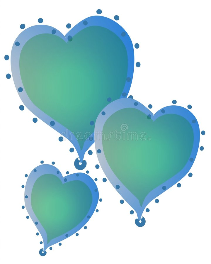 Isolated Hearts Clip Art Blue. 3 blue color hearts with gradient colors and decorated with dots around the edges stock illustration
