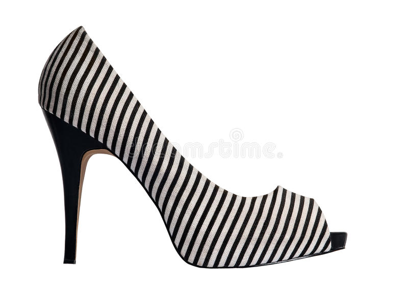 White Striped High Heels. One pair of black and white striped high heels shoes. The shoe has thin stripes. It is isolated on white background. Png format with royalty free stock photography