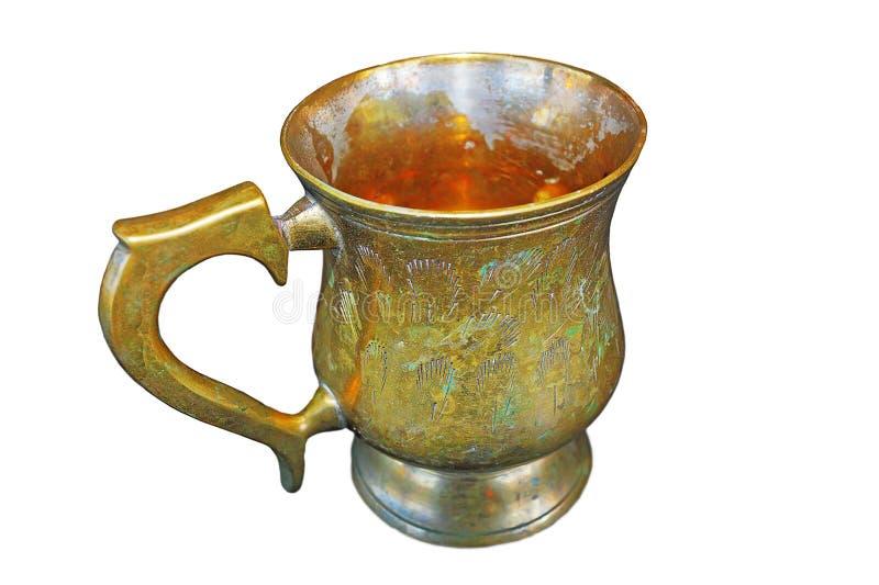 Isolated historic brass mug royalty free stock images