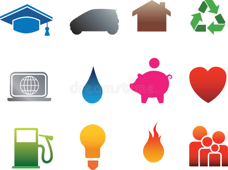 Download Isolated home flat icons stock vector. Image of money - 8636660