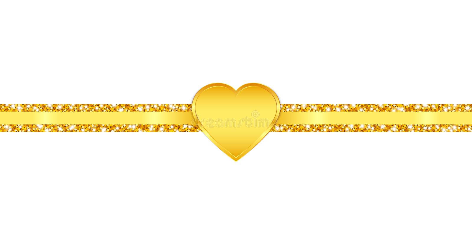Horizontal Slim Glitter Ribbon Golden Shining Heart royalty free illustration
