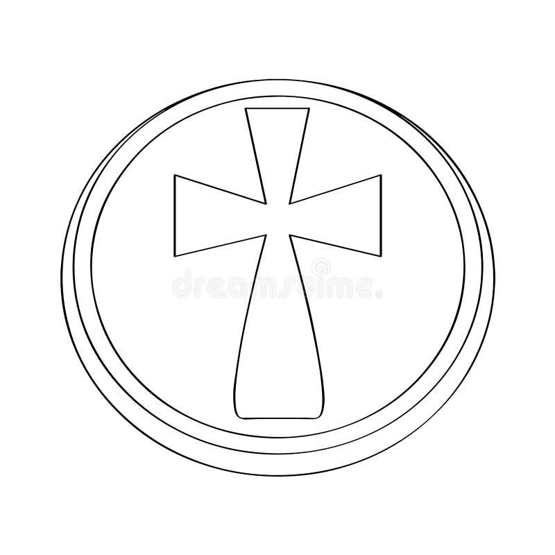 Isolated host outline. Holy week. Vector illustration design stock illustration