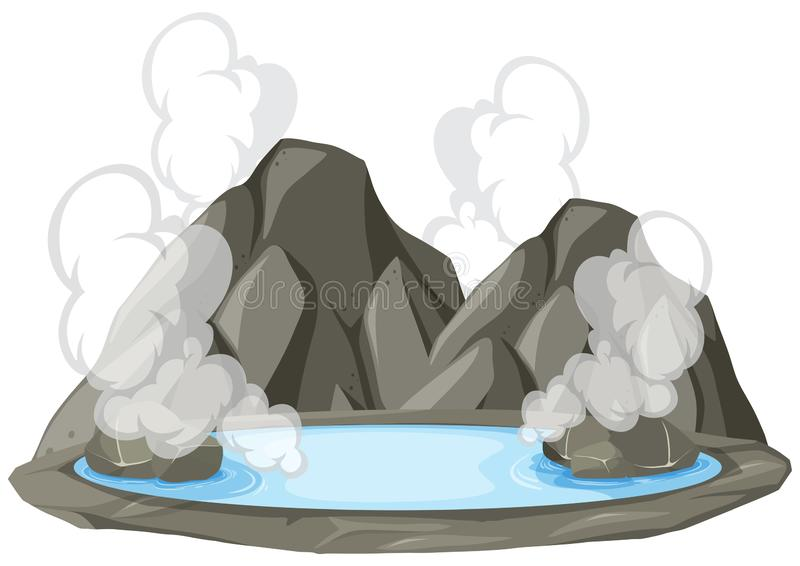 Isolated hot springs on white background. Illustration stock illustration