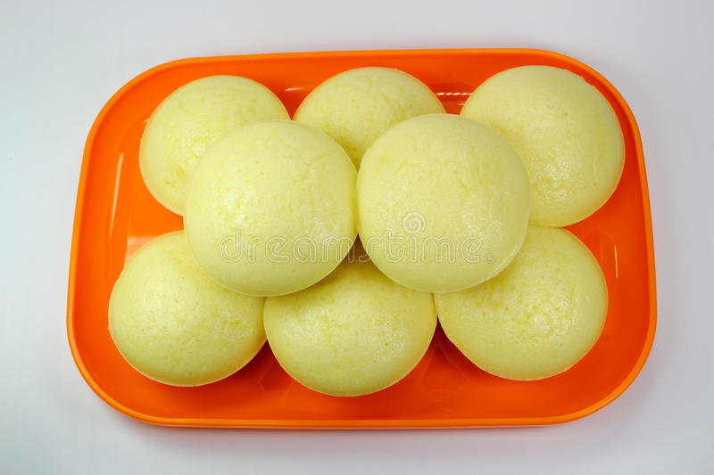 Isolated hot Steamed Rice Cake. Made by flour stock photo