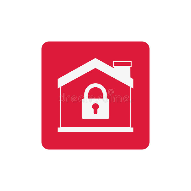 Isolated house and padlock design. House and padlock icon. Insurance security protection and safety theme. Isolated design. Vector illustration royalty free illustration