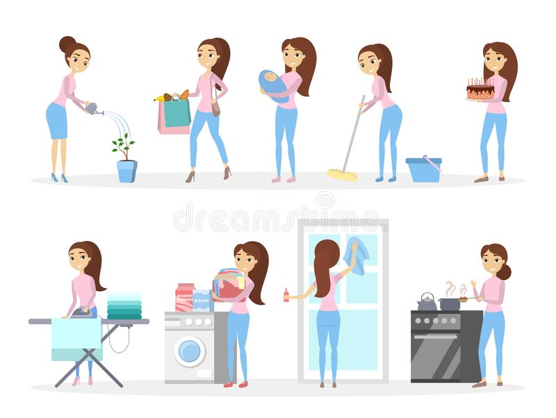Isolated housewife set. Isolated housewife set cooking, cleaning and more royalty free illustration