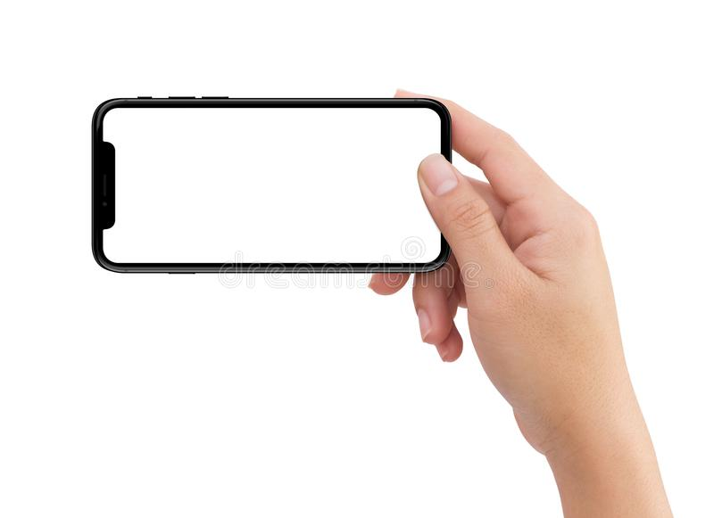 Isolated human right hand holding black horizontal mobile phone stock images